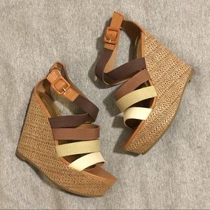 Colorblock Brown Platform Sandals